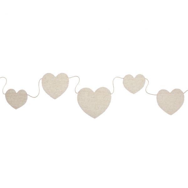 Stoff-Girlande Herzen, creme-weiß