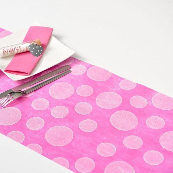 Tischläufer weiße Punkte, B: 30cm, pink