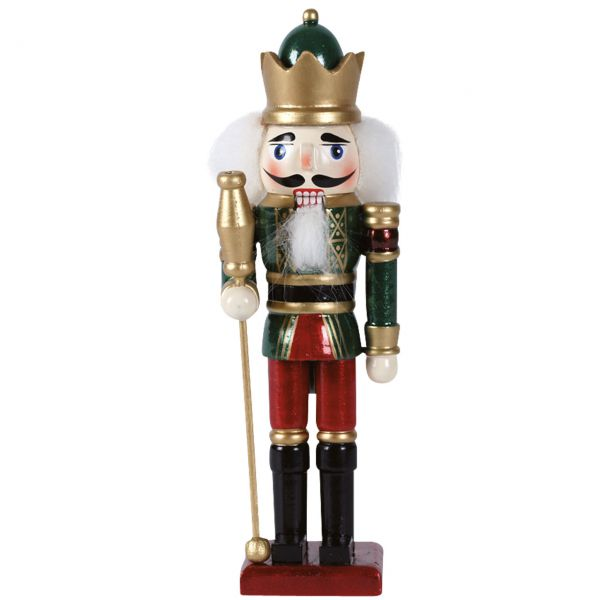 Nussknacker König 15cm, grün-rot