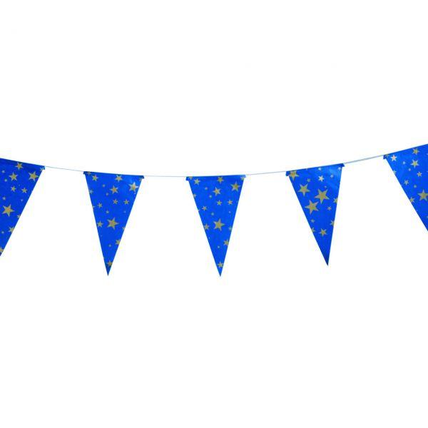 Papier Wimpelkette, blau-gold