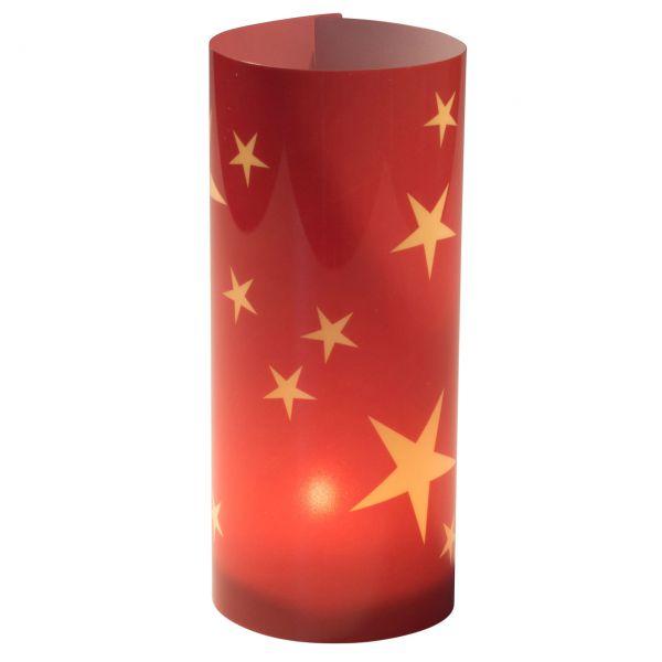 Windlicht Sterne, rot-gold