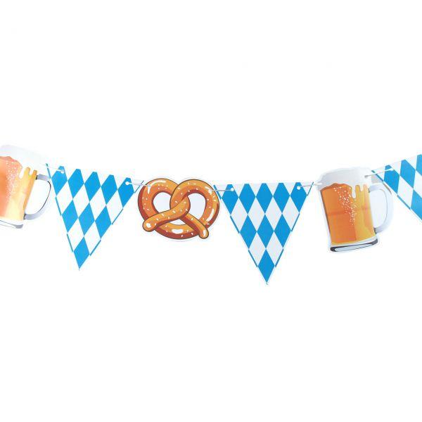 Wimpelkette Bayern Oktoberfest Brezel & Bier, weiß-blau