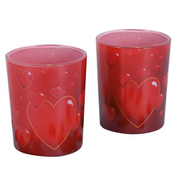 Teelichtgläser Herz, rot-gold
