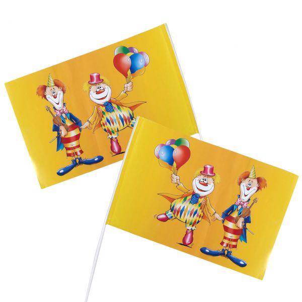 Papier Handfahnen Clown, bunt