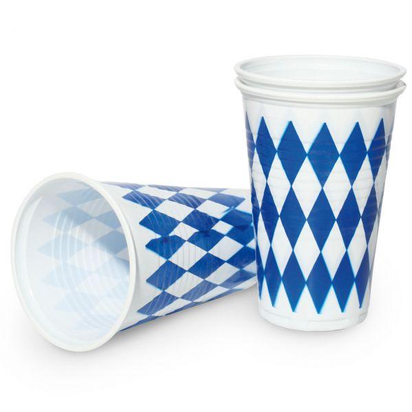 Kunststoff Trinkbecher Bayern Oktoberfest, weiß-blau