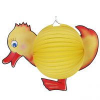 Kinder-Laterne Ente, gelb-rot