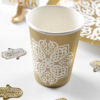 Papp-Trinkbecher Ornament, weiß-gold