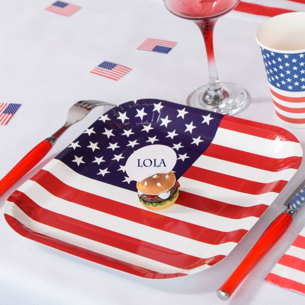 Pappteller USA, Stars ´n Stripes, blau-weiß-rot