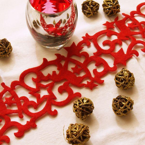 Weihnachtliches Tischband Filz Schaukelpferd, rot