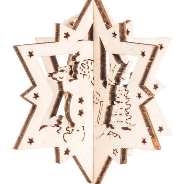 Anhänger 3D Stern, Holz, Schneemann