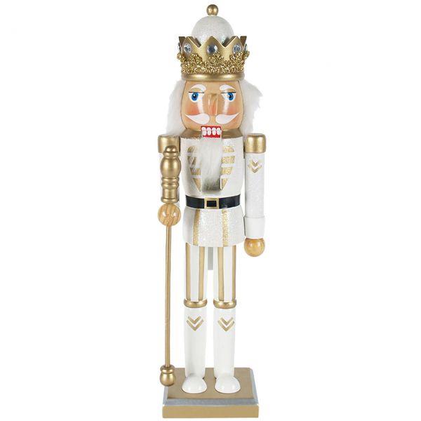 Nussknacker König 38cm, weiß-gold