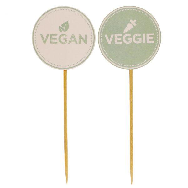 """Deko-Picker """"Vegan & Veggie"""", bunt"""