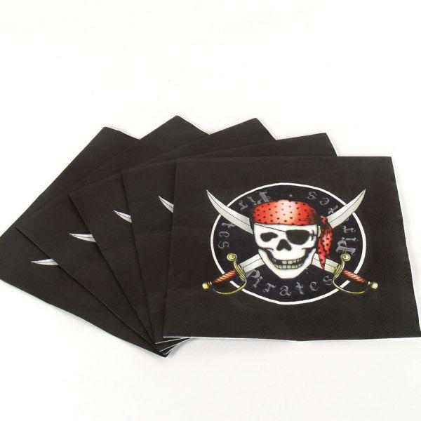Servietten Piraten, schwarz-rot