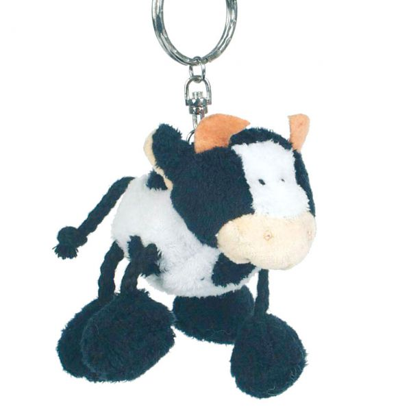 Stofftier Anhänger Kuh, schwarz-weiß