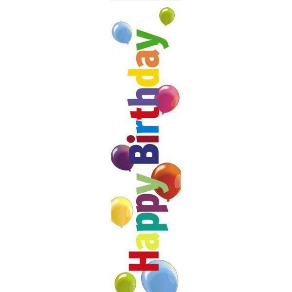 Banner Happy Birthday Luftballons wetterfest, weiß-bunt