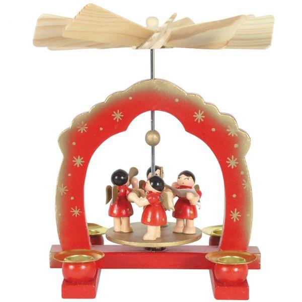 Kleine Weihnachts-Pyramide musizierende Engel, rot-gold