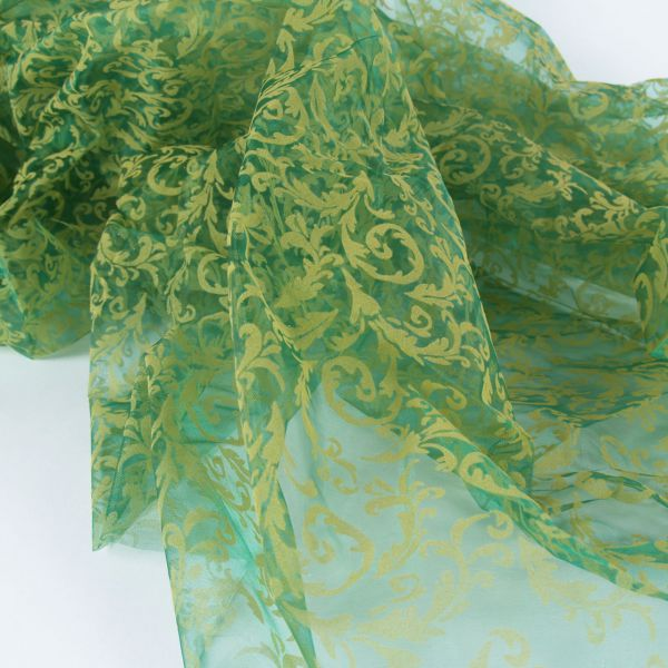 Organza Pflanze, hellgrün auf grün, beflockt