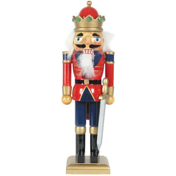 Nussknacker König mit Schwert 30cm, rot-blau