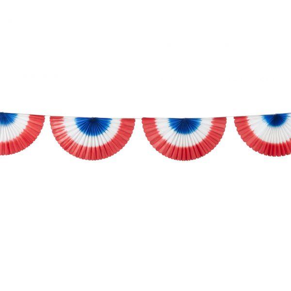 Girlande Fächer, weiß-blau-rot