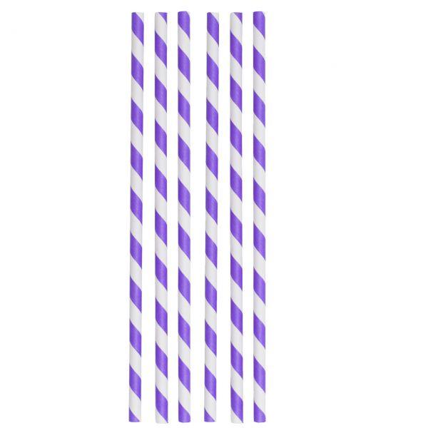 Papier Trinkhalme Jumbo 0,8 x 25 cm, lila-weiß