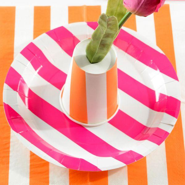 Pappteller weiße Streifen, pink