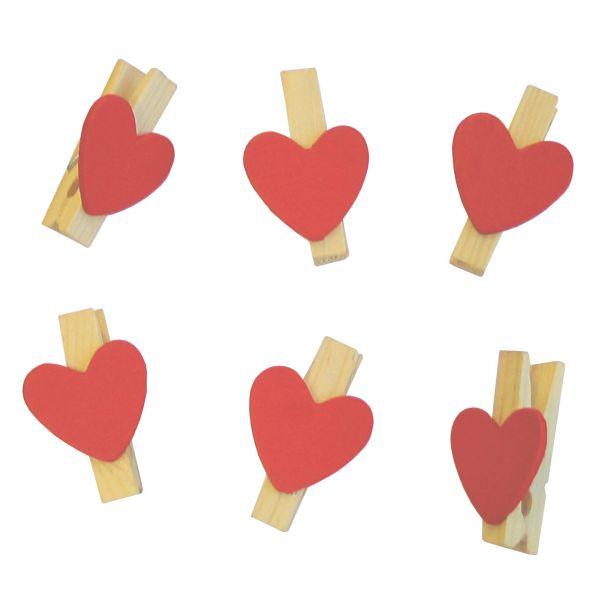 Holz-Miniklammern Herzen, rot