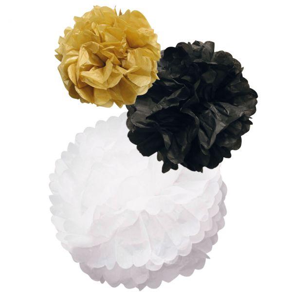 Pompom-Set, Papier, schwarz-weiß-gold