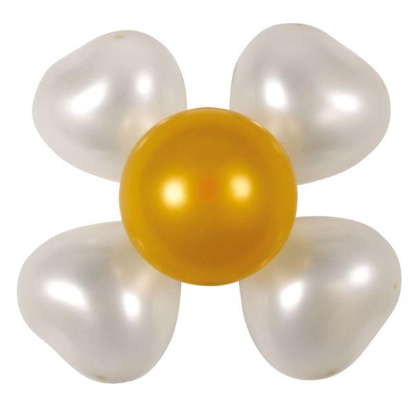 Luftballon Dekoset 2 Blumen, perlmutt-gold