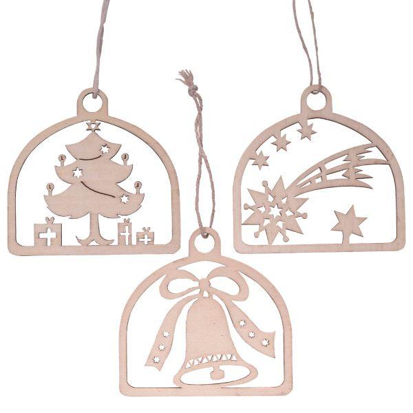 Anhänger Glocke, Stern, Baum im Bogen