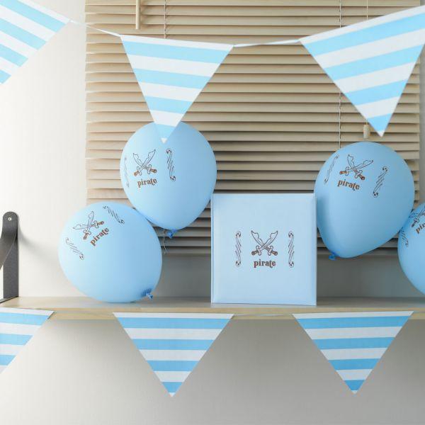 Wimpelkette weiße Punkte & Streifen, 6m, blau-türkis