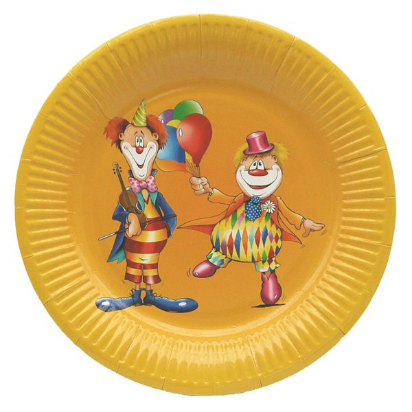 Pappteller Clown, bunt