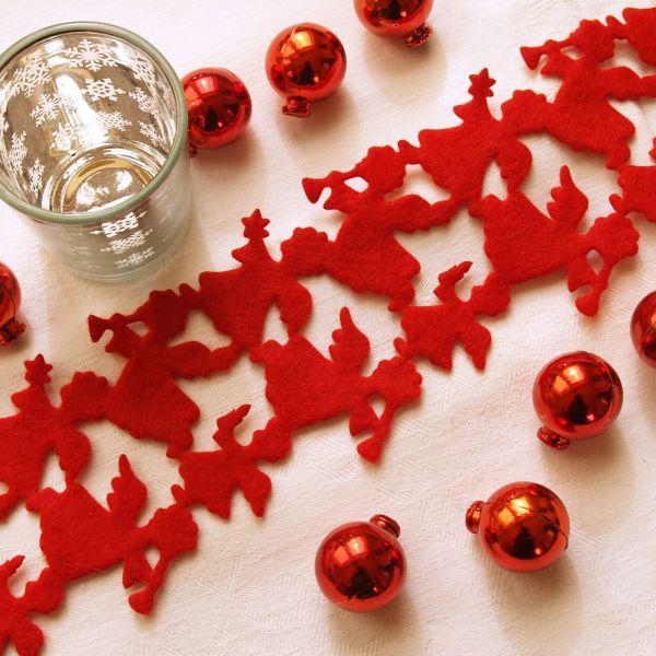 Weihnachtliches Tischband Filz Engel rot