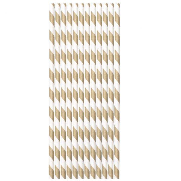 Papier Trinkhalme 0,6 x 20cm, Streifen gold-weiß
