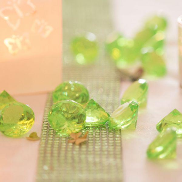 Deko-Diamanten, Ø 3cm, grün-klar
