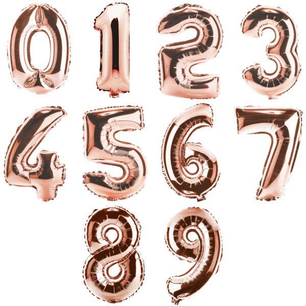 Zahl 0-9 Folienballon XXL, H: 1m, roségold