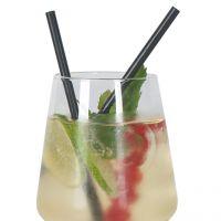 Jumbo Cocktail Strohhalme kurz, schwarz 12,5 cm, 200 Stück