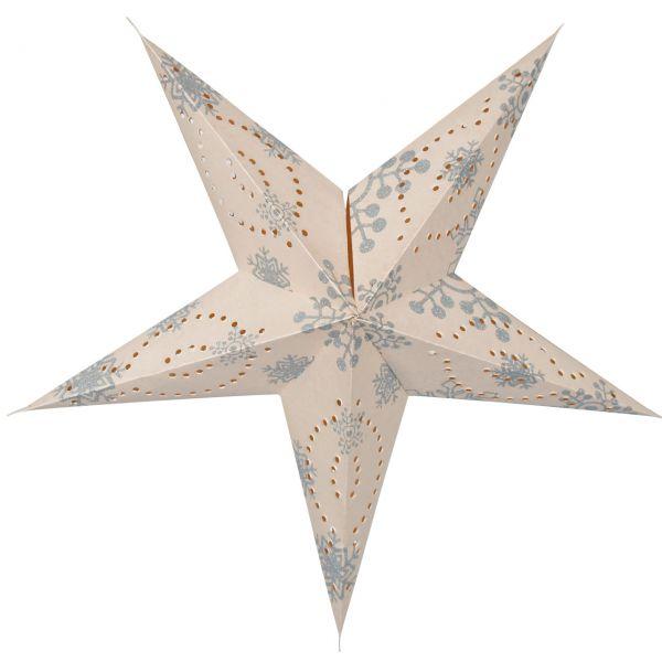 Weihnachtsstern Sternschnuppen, Papier, weiß/silber glitzernd
