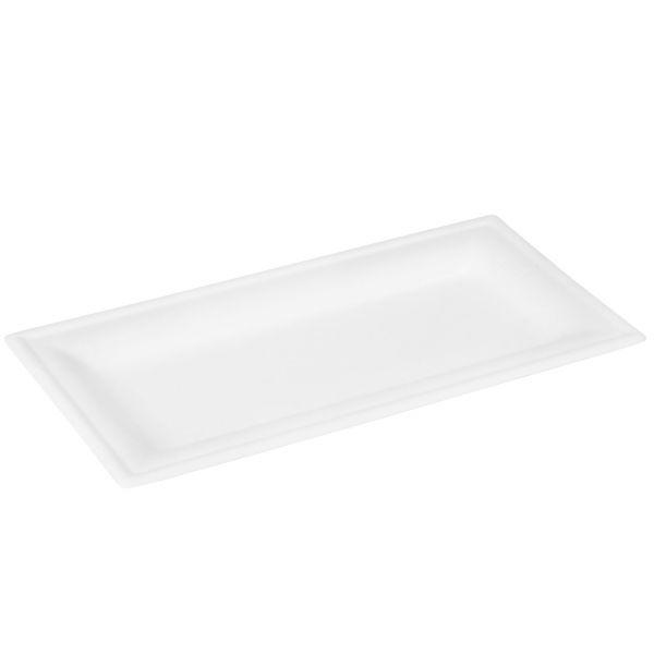 Zuckerrohr Teller eckig 13 x 26 x 1,3 cm, weiß