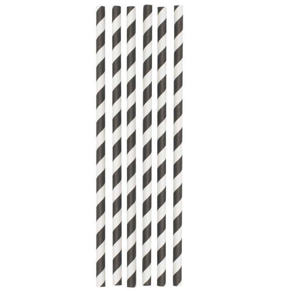 Papier Trinkhalme Jumbo 0,8 x 25 cm, schwarz-weiß