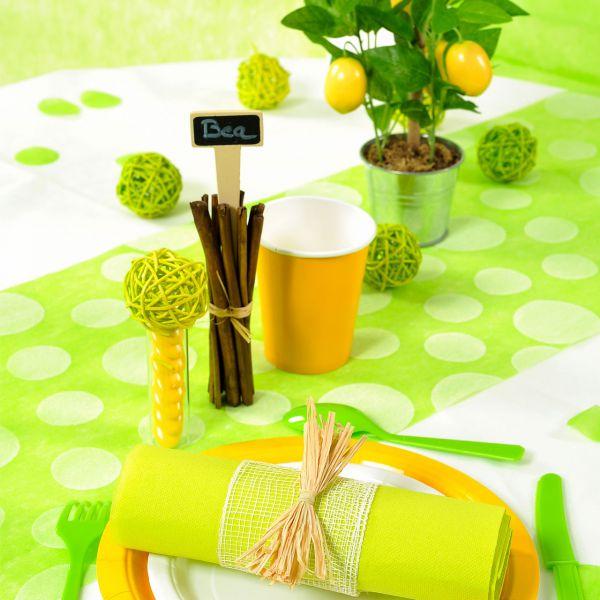 Tischläufer weiße Punkte, B: 30cm, grün