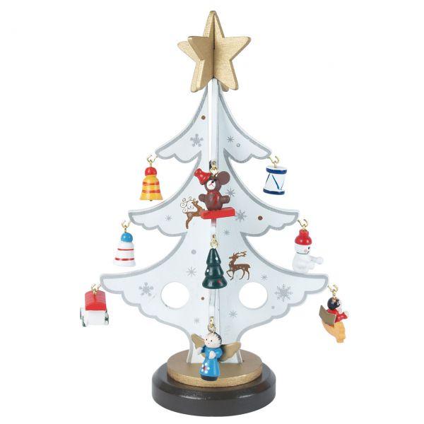 Deko-Christbaum mit Figuren, Holz weiß