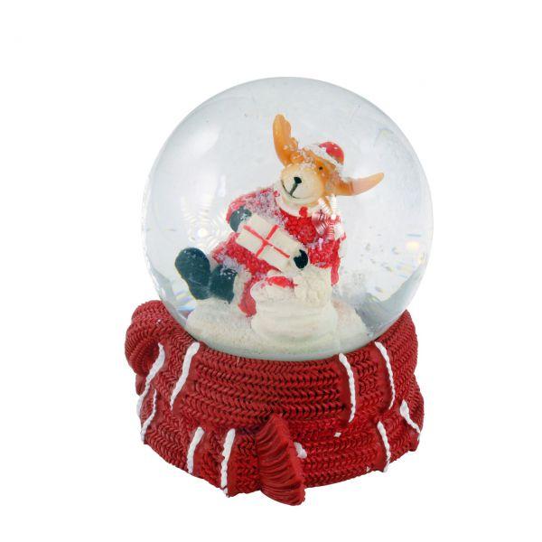 Schneekugel Weihnachtselch, mit Schal