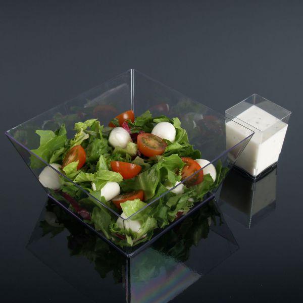 Salat-Schale, eckig, transparent