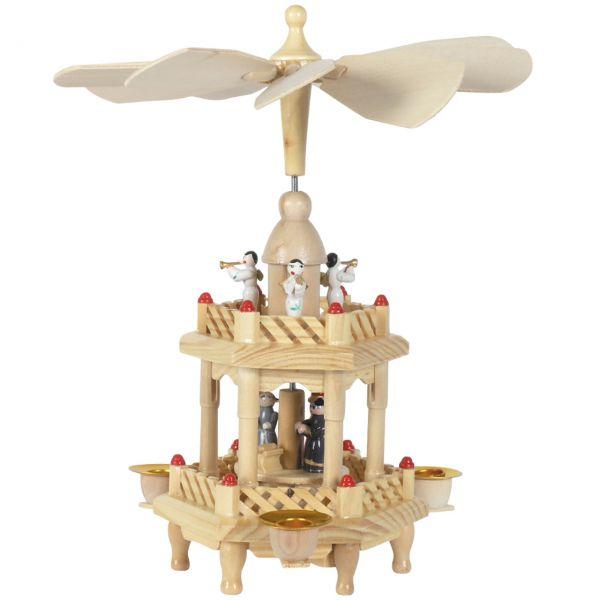 Weihnachts-Pyramide Krippenszene und Engel 2 Etagen, natur