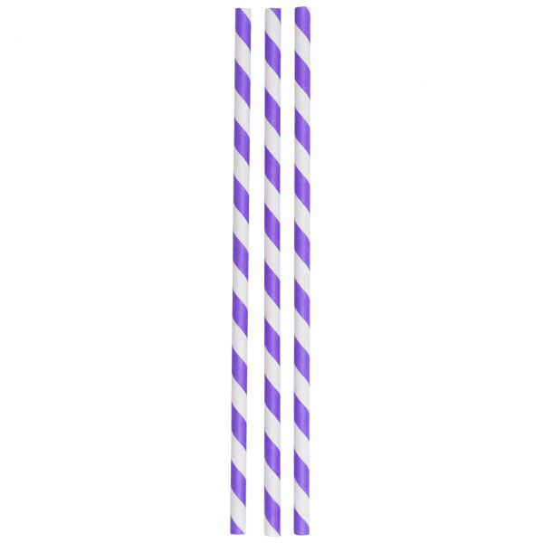 Jumbo Papier Strohhalme Streifen, lila-weiß