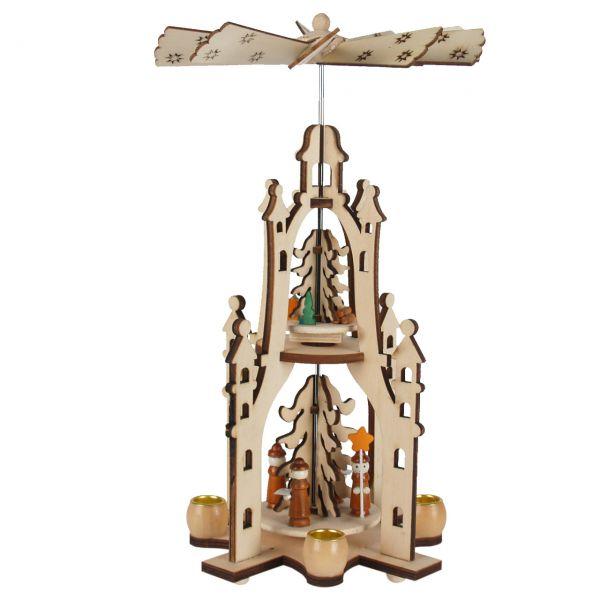 Weihnachts-Pyramide Krippe und Könige, 2 Etagen, gelasert