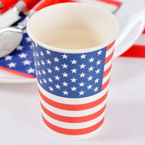 Papp-Trinkbecher USA, Stars ´n Stripes, blau-weiß-rot