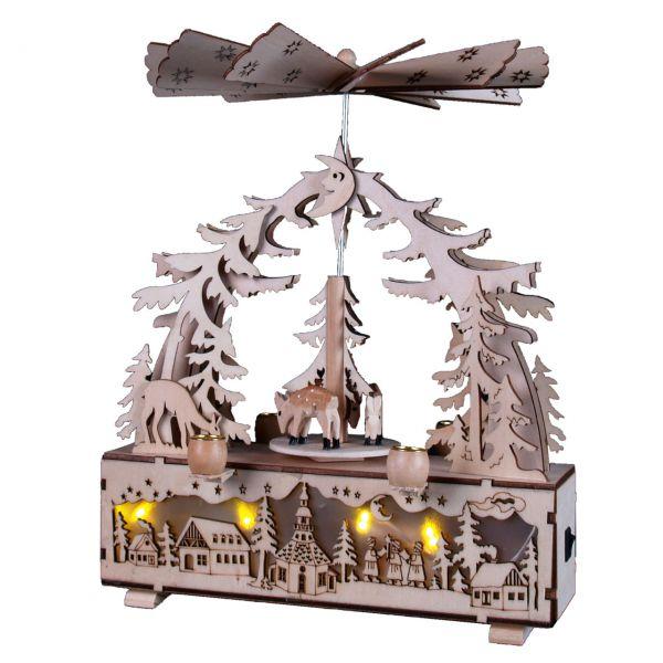 Weihnachts-Pyramide Rehe und Dorf, LED und Kerzen, natur gelasert