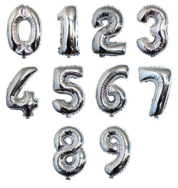 Zahl 0-9 Folienballon XXL, H: 1m, silber