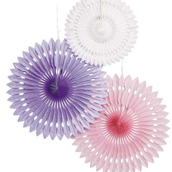 Deko-Fächer-Set, weiß-rosa-flieder